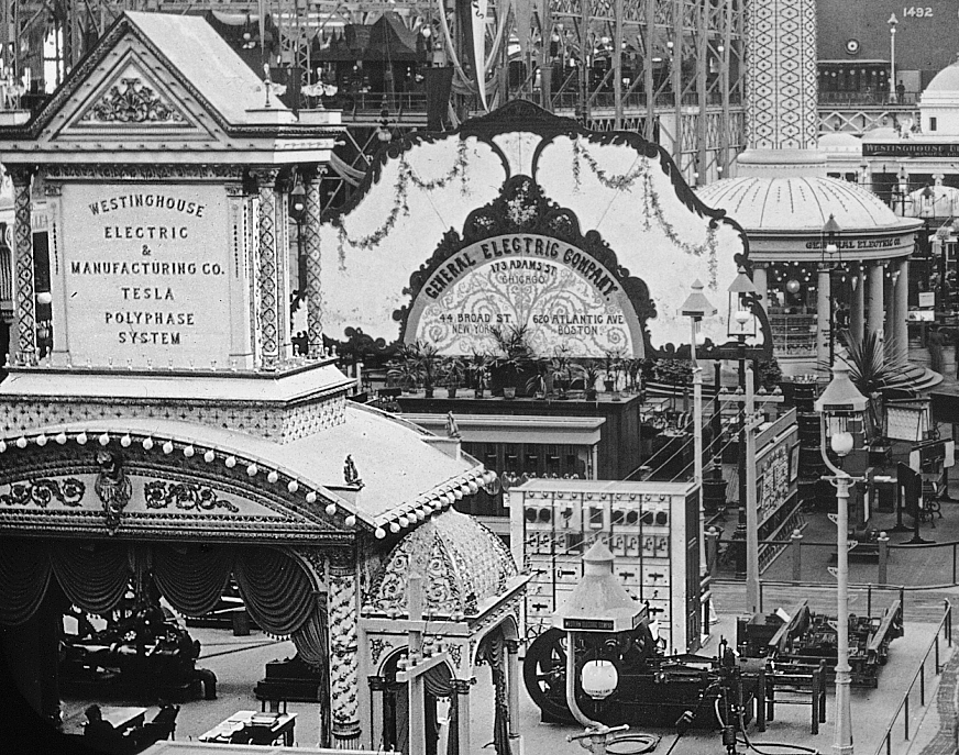 Electricity exhibits at the  1893 Chicago World's Fair via Wikimedia Commons.