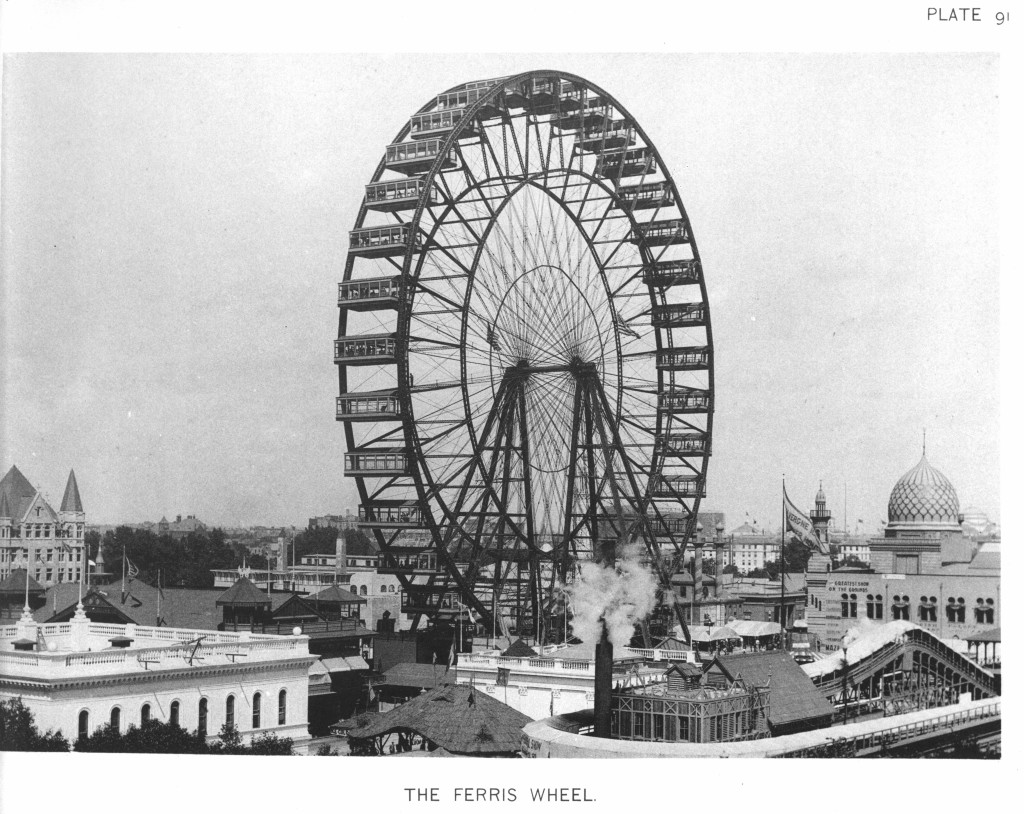 The Ferris Wheel at the World's Columbia Exposition. Via Wikimedia Commons