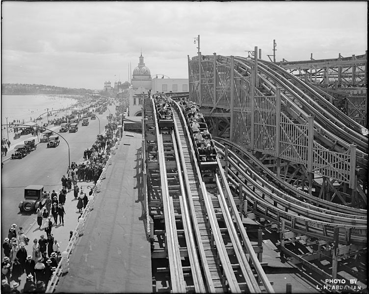 The Derby Racer roller coaster at Revere Beach. Via Wikimedia Commons